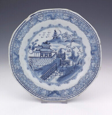 Antique Chinese Porcelain - Oriental Scenes Blue & White Plate - Early!