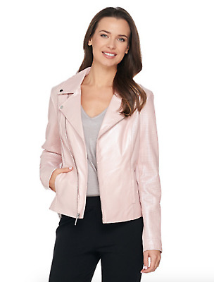 H by Halston Pearlized Lamb Leather Motorcycle Jacket - Reg 4 - Rose Blush