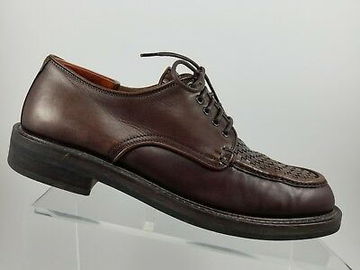 1b495eaa523 Cole Haan Brown Leather Oxfords Woven Moc Toe Casual Dress Shoes Mens 8.5D