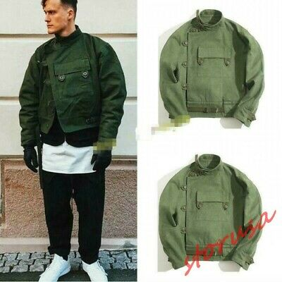 Men/'s Vintage Motorcycle Jacket Army Green Canvas Working Coat Loose Casual Tops