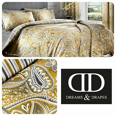 Dreams & Drapes Reversible Paisley Striped Ochre Duvet Cover Set OR Curtains