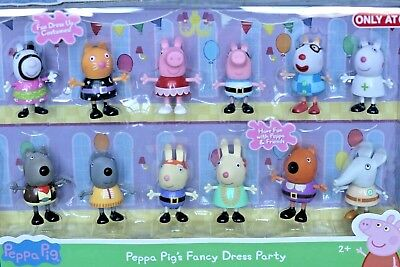 7b8b05ab4e4 PEPPA PIG PEPPA Pig's Fancy Dress Party Exclusive Figures 12-Pack Rabbit  Cat Dog