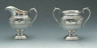 Rose Point by Wallace Cream Pitcher and Sugar Bowl Set, Sterling Silver