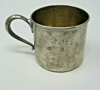 """Antique Engraved 2 1/4"""" RLB Lunt Sterling Silver Baby Cup - 50 grams"""