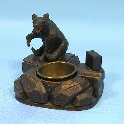 Antique Swiss Black Forest Wood Carving PIPE MATCHBOX CIGAR HOLDER ASHTRAY BEAR