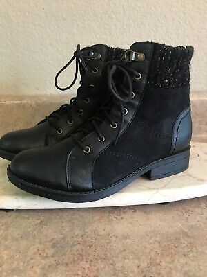Women's Mudd boots size 7 black ankle high lace-up back zipper Girls size 5