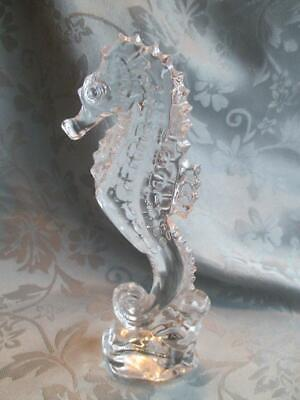 """Clear WATERFORD CRYSTAL SEAHORSE Figurine~Paperweight~7 1/3"""" high"""
