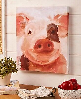 Pig Farm Animal Canvas Wall Art Picture Country Rustic Farmhouse Home Decor