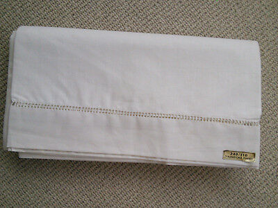 UNUSED & UNWASHED FRENCH FINE LINEN FABRIC / SHEET with LARGE LADDERWORK