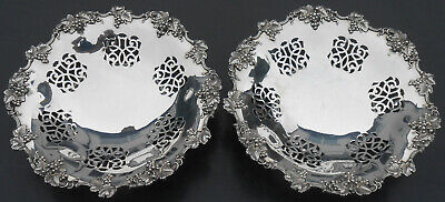 Pair Early Electroplate Grape Dishes - Dixon C. 1850 - Silver Plated Antique