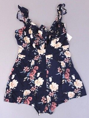 67efb1d2954b Active USA Womens Floral Cut Out Tie Front Sleeveless Romper SI4 Blue  Medium NWT