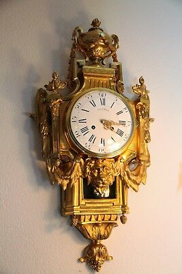 "Antique French Cartel Wall Clock Ormolu Gilt Bronze Louis XVI style ""Delinge"""