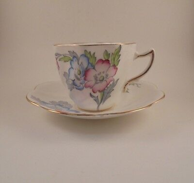 Rosina Cup & Saucer Scalloped Pink Blue & Gray Flowers Bone China