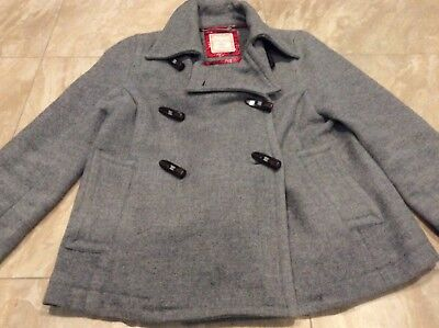 7bccfe12a90a5 WOMEN S GRAY OLD Navy wool blend toggle button car coat with HOOD ...