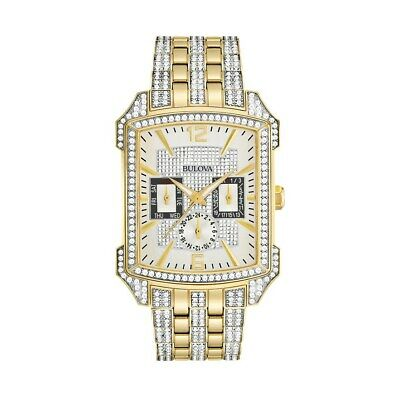 Bulova Octava Men's Quartz Pave Dial Crystal Accents Gold-Tone 36mm Watch 98C109