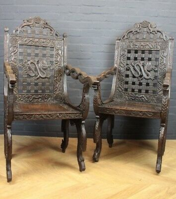Pair of Antique Chinese Oriental Carved Campaign Wooden Folding Chairs Armchairs