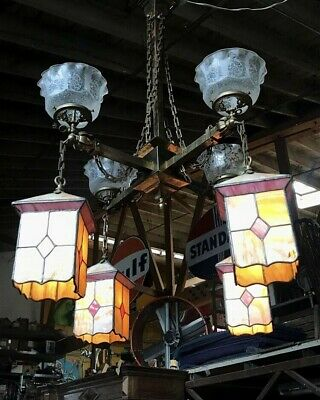 Antique Stained Leaded Slag Glass Mission Style Brass Gasolier Chandelier c.1900