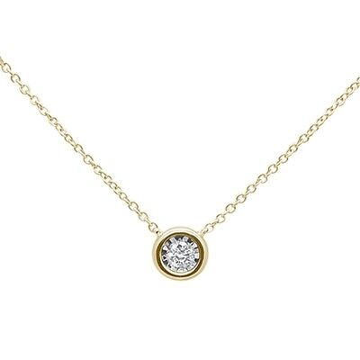 .10ct F SI 14k Yellow Gold Diamond Bezel Solitaire Pendant Necklace 18""