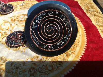TENSOR RING, TESLA Coil, Shungite w Welo Opal Orgone Water Structuring  Coaster