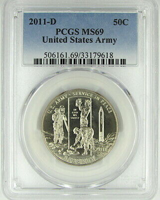 2011-D United States Army Uncirculated Commemorative Half Dollar Pcgs Ms69