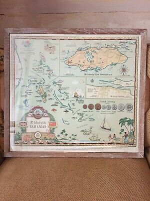 The Islands Of The Bahamas Map 1951 George Annand