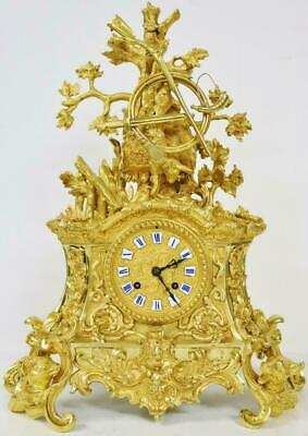 Exceptional Antique 19thC French 8 Day Bronze Ormolu Hunting Theme Mantel Clock