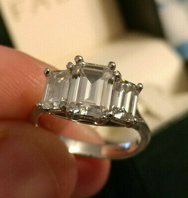 3 Carat Forever One Emerald Cut Moissanite 3 Stone Engagement Ring Size 6 3ct