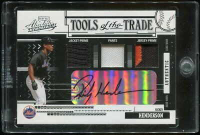 Rickey Henderson 2005 Absolute Tools of the Trade 1/1 Auto Jacket Pants JE Patch