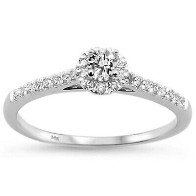 .33ct F SI 14k White Gold Diamond Promise Engagement Ring Size 6.5