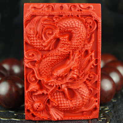 Chinese Natural Red Organic Cinnabar Dragon Necklace Pendant