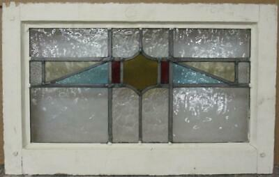 "OLD ENGLISH LEADED STAINED GLASS WINDOW Gorgeous Geometric Band 21.75"" x 13.5"""