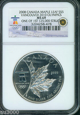 2008 CANADA MAPLE LEAF 1 Oz. S$5 SILVER VANCOUVER 2010 OLYMPICS NGC MS69
