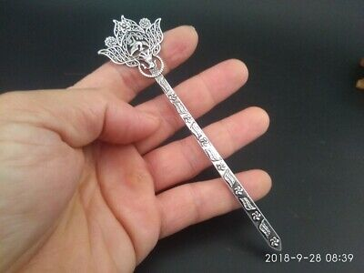 The hairpin a rare Chinese Old Tibetan silver hand carved Phoenix statue RN021