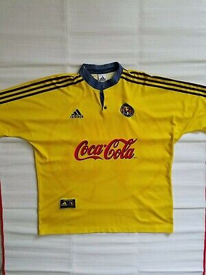 b9c4040e4 Vtg 90s Club America Adidas Home Jersey Yellow 1999-00 Mens Sz XL Liga MX