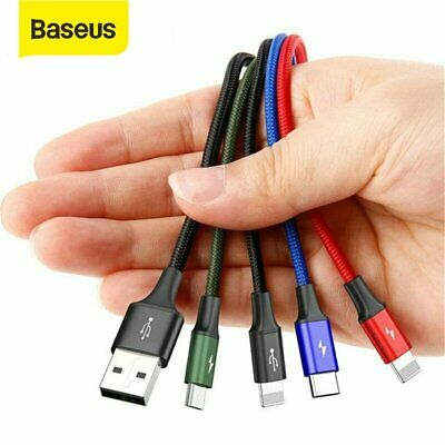 Baesus 4 in 1 Multi USB Charger Charging Cable Cord for iPhone Type C Micro USB