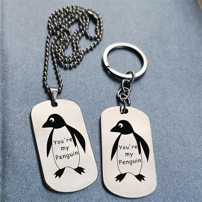 You're My Penguin Square Pendant Silver Necklace Chain Key Ring Couples Gift LG