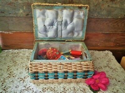 Vintage Sewing Basket + Contents Tape Measures Wooden Cotton Reels Sewing Box