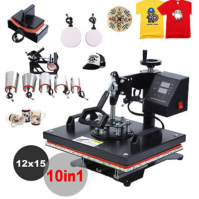 10in1 12X15 Combo T-Shirt Heat Press Transfer Machine Sublimation Swing Away DIY