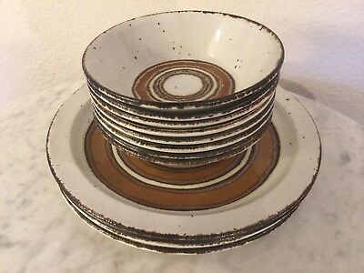 """Midwinter Ltd WR """"Earth"""" 4 Dinner Plates 8 Cereal Bowls. Stonehenge.England.Disc"""