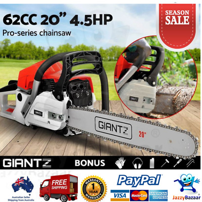 "62cc Petrol Commercial Chainsaw 20"" Bar E-Start Tree Pruning Chain Saw 2 Stroke"