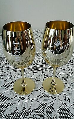 Moet and Chandon 2 x Gold Glass Goblets. Beautiful & Brand New. Mint Condition.