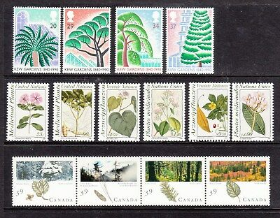 Fowers &Trees 3 MNH Sets from Canada, UK and United Nations.