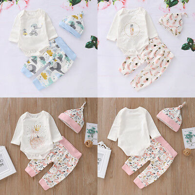 3PCS Newborn Toddler Baby Boy Girl Outfits Clothes Romper Bodysuit+Pants Hat Set