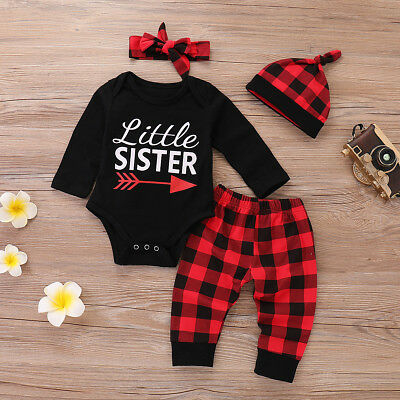 4PCS Newborn Kid Baby Boy Girl Outfit Clothes Set Romper Bodysuit+Pants Leggings