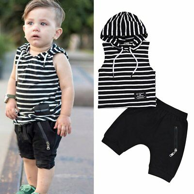 2pcs Toddler Kids Baby Boys Summer Hooded Shirt+Pants Shorts Outfits Clothes Set