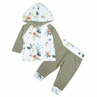 2pcs Newborn Baby Boys Girls Floral Hooded Sweater Tops+Pants Outfit Clothes Set
