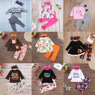 3Pcs Toddler Kids Baby Girl Outfit Clothes T-shirt Tops Dress+Pants Leggings Set