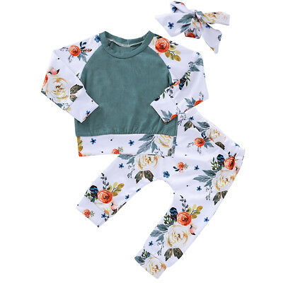 3pcs Toddler Kids Baby Girl Clothes T-shirt Tops+Long Pants+Headband Outfits Set