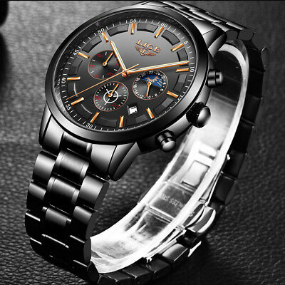 LIGE Men's Luxury Stainless Steel Date Analog Quartz Waterproof Wrist Watch Gift