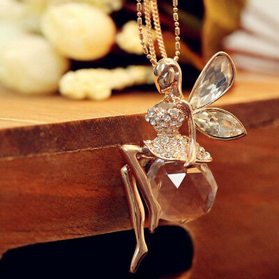Women Crystal Fairy Angel Wing Pendant Long Chain Sweater Necklace Jewelry Gift